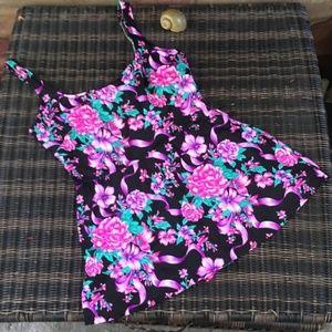 Vintage Floral Plus Size Gabar Swimdress